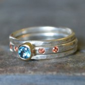 London Blue Topaz Orange Sapphire Engagement Ring Stack Engagement Ring 14K Yellow Gold Sterling Silver