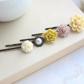 Flower and Bird Bobby Pins,