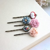 Flower Hair Pins Set of Five 5