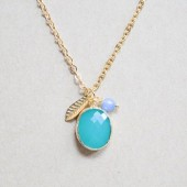 Turquoise Hammered Bezel Stone Charm Necklace