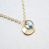 Hammered Disk Necklace with Silver Braided Ring and Turquoise Bead