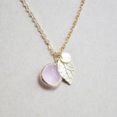 Frosted Pink Stone Cluster Necklace