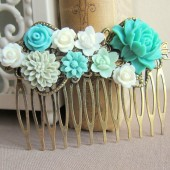 Turquoise Wedding Hair Comb Aqua Bridesmaids Gift Mint Bridal Head Piece Floral Flowers Comb Something Blue Vintage Style Shabby Chic