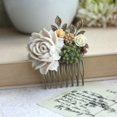 Shabby Sand Dusty White Rose, Green Rustic Mum Pom, Brown, Leaf, Vintage Style Hair Comb.