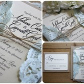 Rustic // Beach Wedding // Burlap & Lace Wedding Invitation Suite