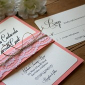 Rustic // Coral & Lace Wedding Invitation Suite
