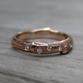 Scattered Diamond Twig Band: Rose Gold, 3mm wide, Canadian Diamonds