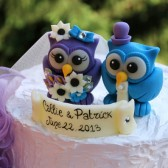 Royal Purple and Malibu Blue owl cake topper,Owl wedding cake topper, love birds, custom cake topper, wedding cake topper, owl cake topper, love bird cake topper, personalized wedding, cute cake topper, hand made cake topper