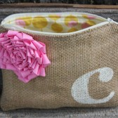 1 Personalized Initial Wedding Clutch - Wedding Bags - Bridal Party - You Choose Lining, Flower Color, and Personalization