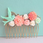 Coral Mint Green Wedding Hair Comb Bridesmaid Gift Peach Pink Mint Bridal Head Piece Floral Flower Bird Pastel Colors Soft Romantic