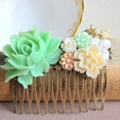 Mint Green Hair Comb Floral Flower Head Piece Shabby Chic Vintage Style