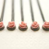 Pale Pink Rose Necklaces Set of 5