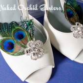 Wedding Shoe Clips, Peacock Feather Shoe Clips for Bride, Crystal Flower Shoe Clips, Art Deco, June Bride, Holds Fast, Easy to Attach