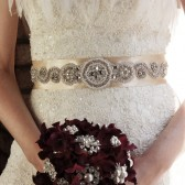 Rhinestones and pearl wedding sash