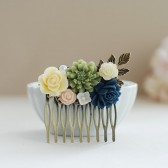 Flower Collage Hair Comb. Shabby Chic Green Cobalt Blue Rose Ivory Flowers Wedding Bridal Hair Comb