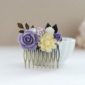 Purple Ivory Flower Collage Hair Comb