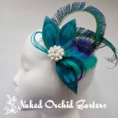 Wedding Hair Clip Fascinator Bride Peacock Feather Clip, Pearl Brooch, Teal Blue Peacock Feather Fascinator, Purple Teal Hair Clip