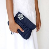 Navy Blue linen clutch