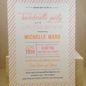 Bachelorette Party / Lingerie Shower / Candy Stripe Printed Invitation / Birthday / Rehearsal Dinner / Wedding / Save the Date by DarbyCards