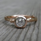 Rustic Diamond Twig Engagement Ring - Rose Gold