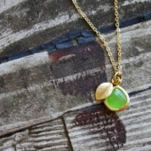 Peridot Matte Gold Leaf Necklace