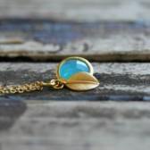 Aqua Leaf Necklace . Matte Gold Chain
