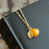 Harvest Gold Matte Leaf Necklace
