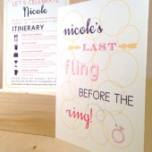 Bachelorette Night / Weekend / Party Fun Double Sided Dot Invitation / Frameable Art / Fling before the Ring / Bridal / Fling