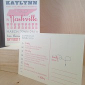 Nashville / State / Fun Bachelorette Weekend / Roadtrip / Printed Invitation / Postcard / Custom Save the Date