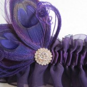 Wedding Garter Set, Lapis Plum Indigo Purple Chiffon Garters, Purple Peacock Feather Garters, Jeweled Rhinestone Garters, Purple Prom Garter