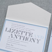 Vintage Pocketfold Wedding Invitation Suite - Blue and White - Custom Colors - Lizette and Anthony