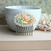 Colourful Bouquet Floral Flower Collage, Vintage Style Flower Hair Comb.