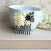 Cream Ivory Rose, Maroon Red, Brown, Pearl, Brass Leaf Flower Wedding Comb.