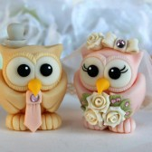 Owl wedding cake topper, love birds, custom cake topper, wedding cake topper, owl cake topper, love bird cake topper, personalized wedding, cute cake topper, hand made cake topper, pink wedding, ivory wedding
