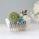 Sage Green Chrysanthemum, Dusky Blue, Ivory Flowers Collage Hair Comb