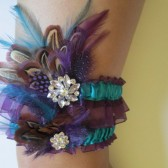 Wedding Garter Set, Purple Organza Garters, Teal Blue Garters, Almond Pheasant, Hackle & Guinea Feathers, Rustic FALL Feather Bridal Garters