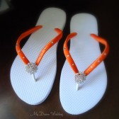 Orange Flip Flops. Bridal flip flops w/ Swarovski Crystals. Wedding Orange flip flops. Bridal Party -Other colors available-BELLA
