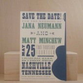 Nashville / Guitar / Music / Hatch / Save the Date / Roadtrip / Printed Invitation / Postcard / Custom Save the Date / Party / Darby Cards
