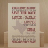Southern / Country / Save the Date Postcard / Austin / Texas / Hatch Style / Invitation / Wedding / Fun and Custom Designed by Darby Cards