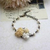 Ivory Rose, White Floral, Pearl Collage Flower Antiqued Brass Adjustable Bracelet.