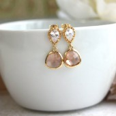 Gold Plated Champagne Peach Drop Jewels Earrings.