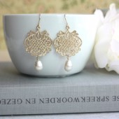 Gold Plated Lace Filigree Earrings, Filigree Pendant, Swarovski Ivory Pearl. Bridal Earrings.