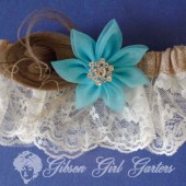 Burlap Ivory Lace Garter Something Blue