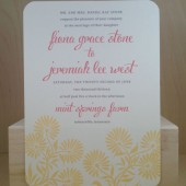 Wedding Invitation / Shower / Yellow and Pink Flowers / Simple / Fun / Bridal / Birthday / Baby / Printed Invitation