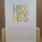 His and Hers / Engagement / Couples Shower / Kitchen and Tool / Wedding / Modern / Kiwi and Lime / Custom Invitation by Darby Cards