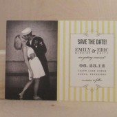 Photo Yellow Stripe Vintage Save the Date Postcard / Printed Invitation / Southern Style