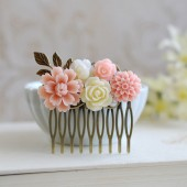 Blush Pink Ivory Flower Brass Leaf Hair Comb