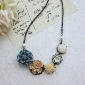 Dusty Blue, Latte Brown, Ivory, White, Antiqued Brass Multiple Flower Necklace. Bridesmaid Gift. Maid of Honor. Blue Wedding.