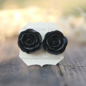 Large Black Rose Earrings