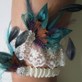 Feather Wedding Garter Set, Ivory Pearled Beaded Lace Garters, Teal Peacock Garters, Pheasant Teal Purple Feather Garter